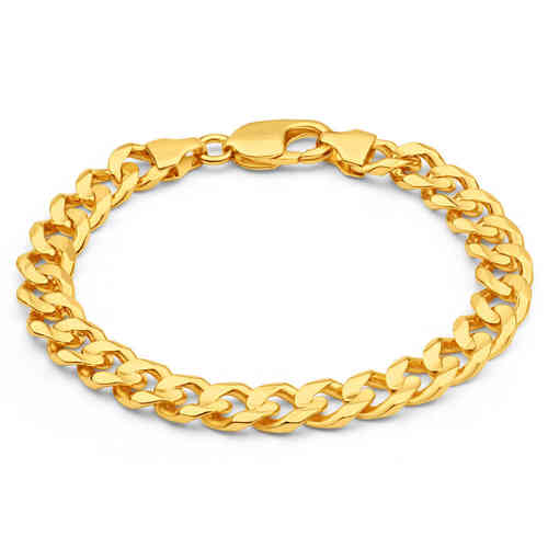 Men's solid 9ct Yellow Gold 8 inch Curb Bracelet 21 grams