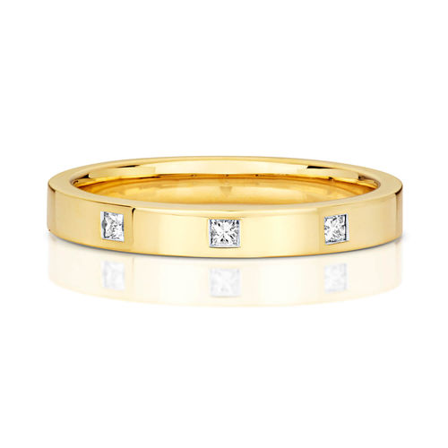 Womens 9ct Gold 3 Princess cut Diamond Wedding Ring