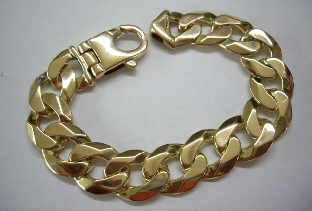 9ct Gold Mens 8 1 2 Inch Chunky Heavy Curb Bracelet 83 Grams