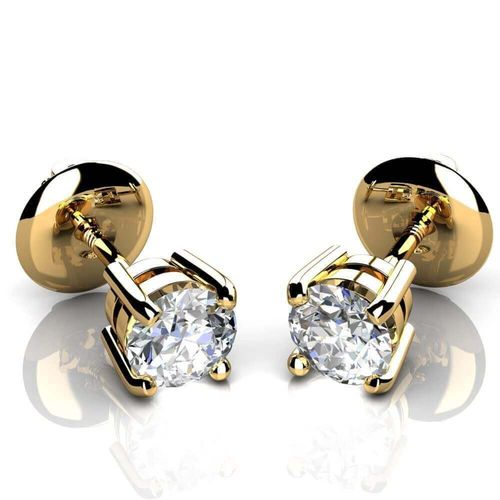 18ct Gold 1/2 Carat round Diamond stud Earrings