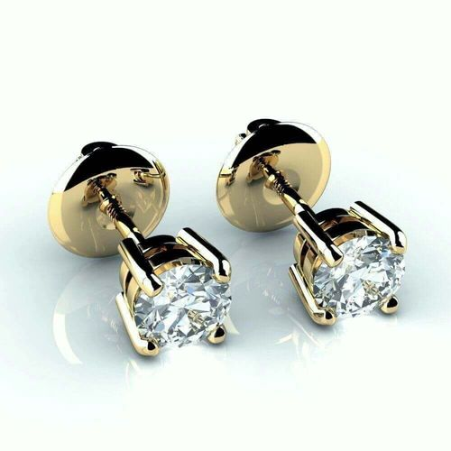 18ct Gold 1 Carat round Diamond stud Earrings