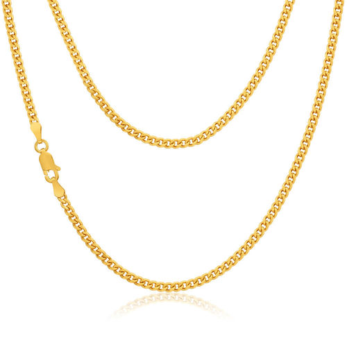 Mens 9ct Gold Curb Chain Necklace 20 inch