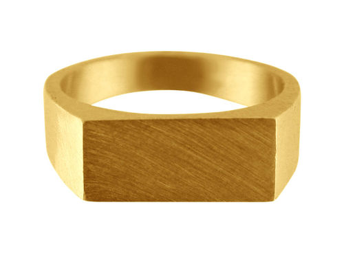 Mens 9ct Gold 14mm x 8mm rectangle initial Signet Ring
