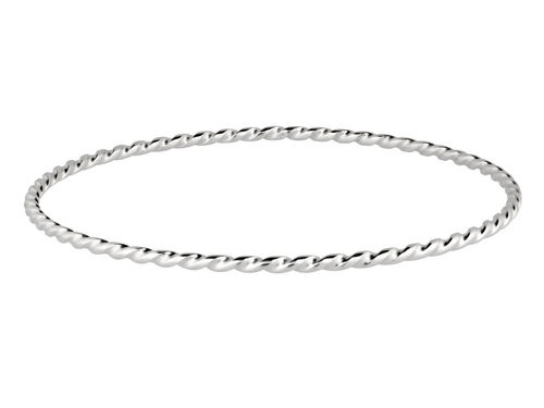 Womens solid Sterling Silver 2mm twist Bangle