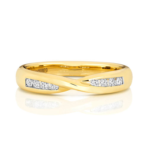 Womens 9ct yellow Gold 3mm Diamond Wedding Ring