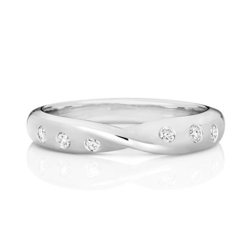 Womens 9ct white Gold 3mm 6 Diamonds Wedding Ring