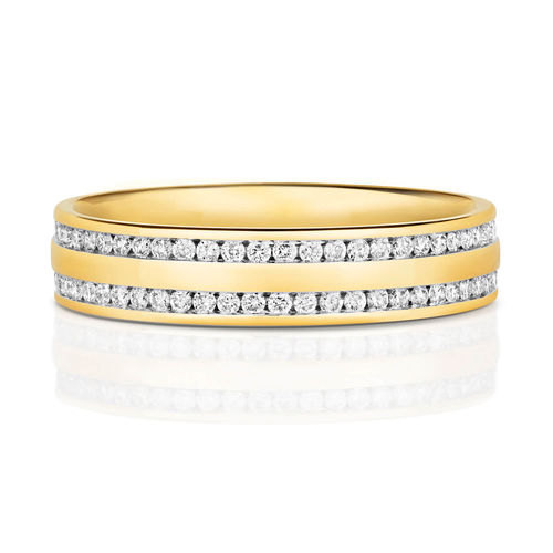 Mens 9ct Gold 5mm 2 row Diamond Wedding Ring