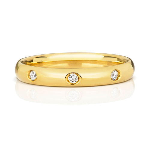 Womens 18ct Yellow Gold 3mm 3 Diamonds Wedding Ring