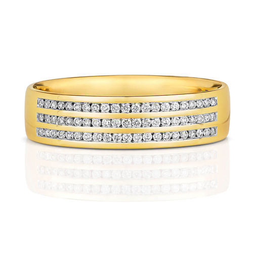 Mens 9ct Gold 6mm 3 row Diamond Wedding Ring