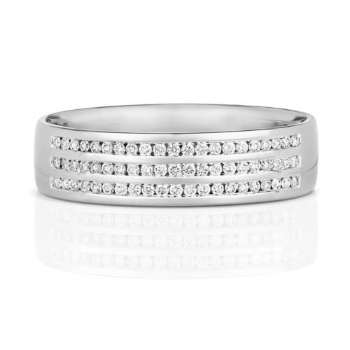 Mens 9ct white Gold 6mm 3 row Diamond Wedding Ring