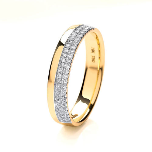Womens 18ct Yellow Gold 2 row round Diamond Wedding Ring