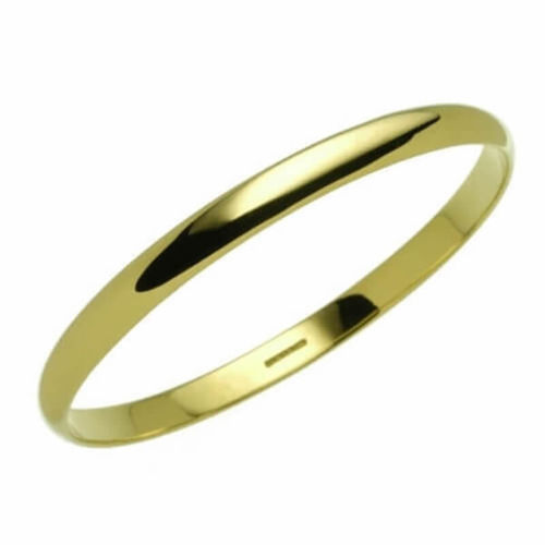 Ladies solid 18k yellow Gold 6mm D shape Bangle 32 grams