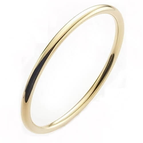 Solid 18k yellow Gold round 3mm Bangle 25 grams
