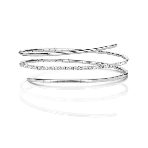 18ct white Gold twist Diamond Bangle 13 grams