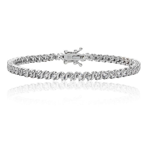 Womens Sterling Silver CZ claw set Bracelet