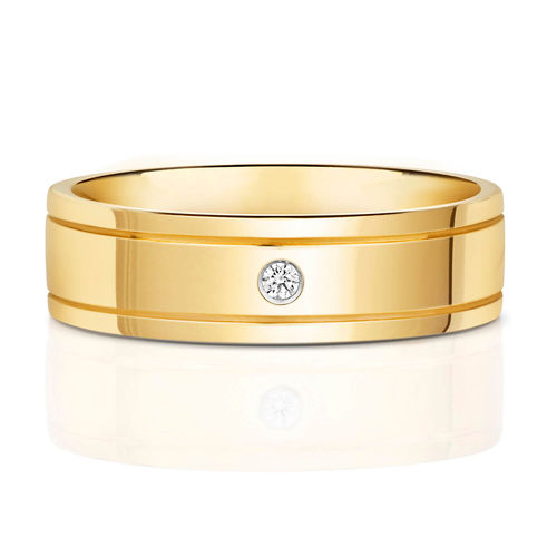 Mens 9ct yellow Gold Diamond 6mm Court Wedding Ring