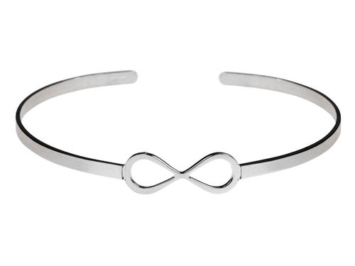Womens Sterling Silver Infinity Torque Bangle