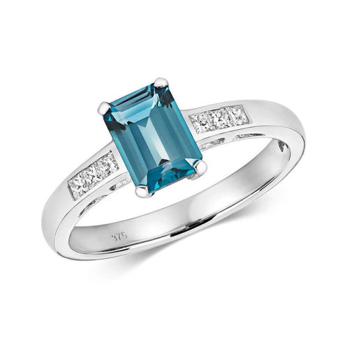 Womens 9ct white Gold London Blue Topaz & Diamond Ring