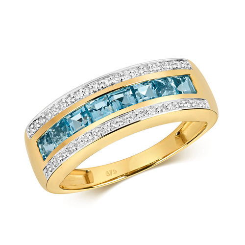 9ct Gold Swiss Blue Topaz & Diamond Eternity Ring