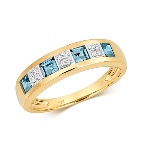 9ct Gold Diamond & London Blue Topaz Eternity Ring