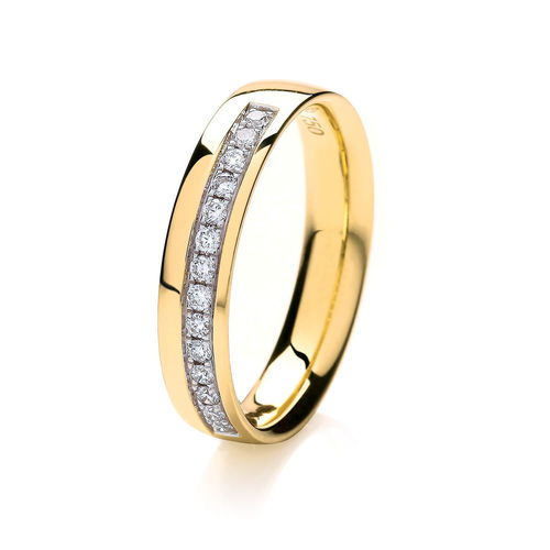 Womens 18ct Yellow Gold 3mm grain set Diamond Wedding Ring