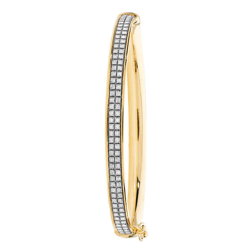 9ct yellow Gold CZ hinged Bangle 3 grams