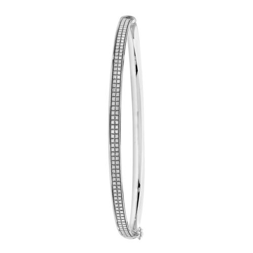 9ct White Gold hinged CZ Bangle 4 grams