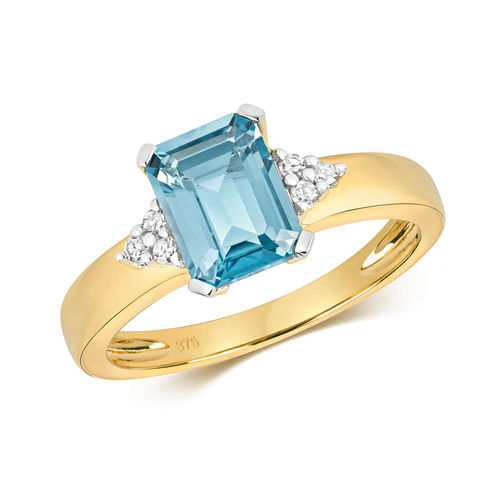 Womens 9ct yellow Gold 6 Diamonds & London Blue Topaz Ring