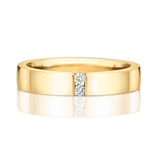 Womens 9ct yellow Gold 2 round Diamonds Wedding Ring