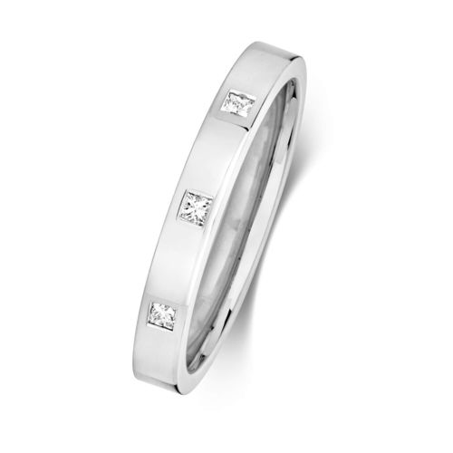 Womens 9ct white Gold 3 Diamond Wedding Ring
