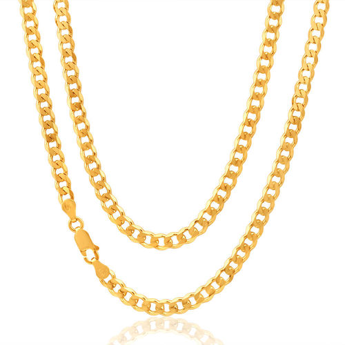 "Mens 9ct Gold flat bevelled Curb Chain 22"" 56 grams"