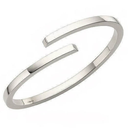 Solid 9ct white Gold 3mm crossover square Bangle 28 grams