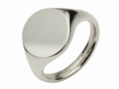 Mens Sterling Silver 11mm round Signet Ring