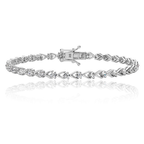 Ladies Sterling Silver fancy 2.5mm CZ & V shape Bracelet