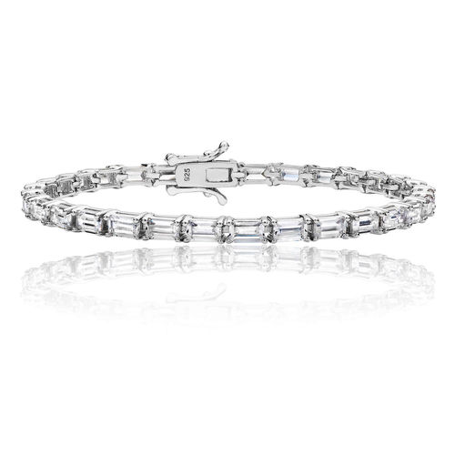 Ladies Sterling Silver fancy Baguette CZ shape Bracelet