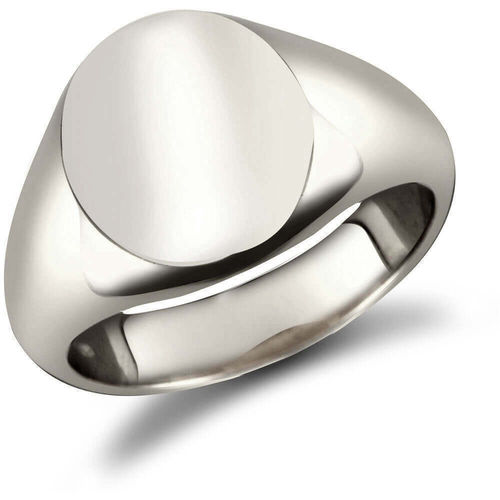 Mens Sterling Silver 16mm x 13mm oval Signet Ring