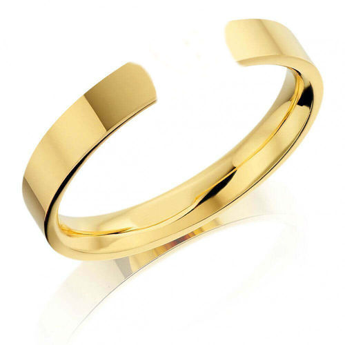 Solid 18ct Gold 6mm open flat shape Cuff Bangle 27 grams