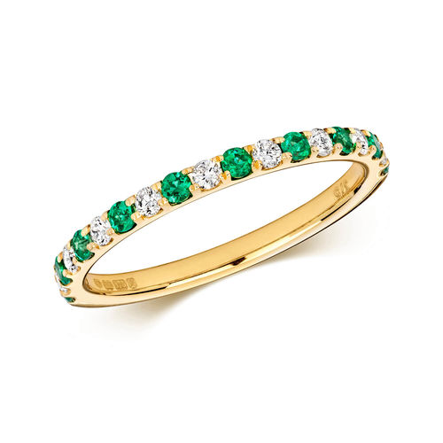 9ct yellow Gold round Emerald & Diamond Eternity Ring