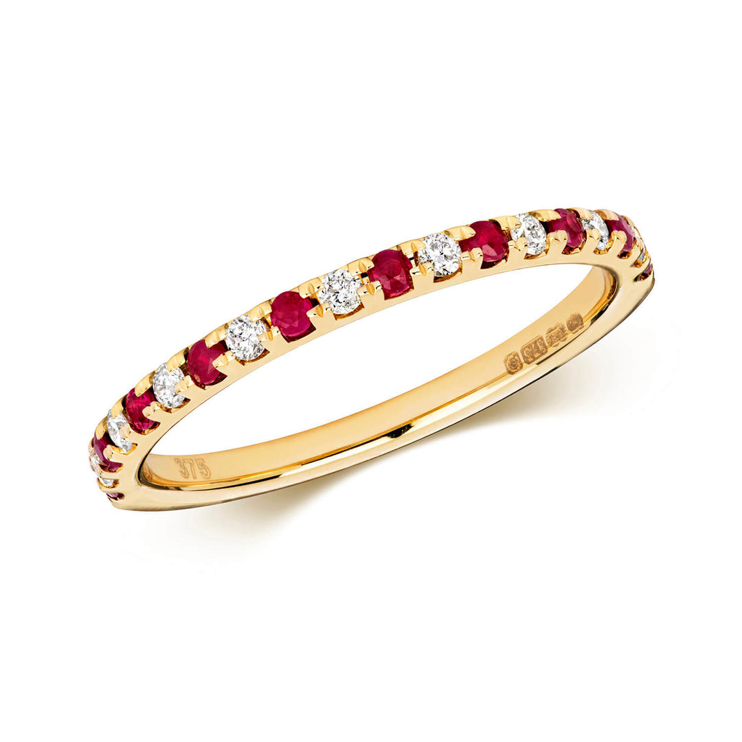 9ct yellow gold round ruby diamond eternity ring. Black Bedroom Furniture Sets. Home Design Ideas