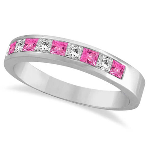 9ct white Gold Pink Sapphire & Diamond Eternity Ring