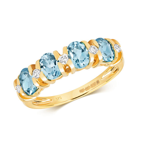 9ct Yellow Gold Swiss Blue Topaz & Diamond Eternity Ring