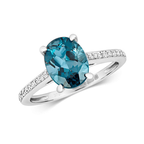 9ct White Gold London Blue Topaz & Diamond Engagement Ring