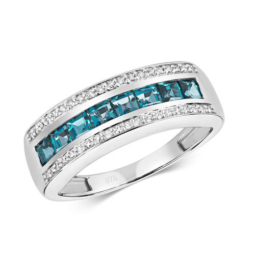 9ct White Gold square London Blue Topaz & Diamond Engagement Ring