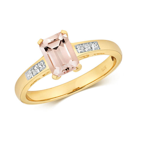 Womens 9ct yellow Gold Morganite & Diamond Ring