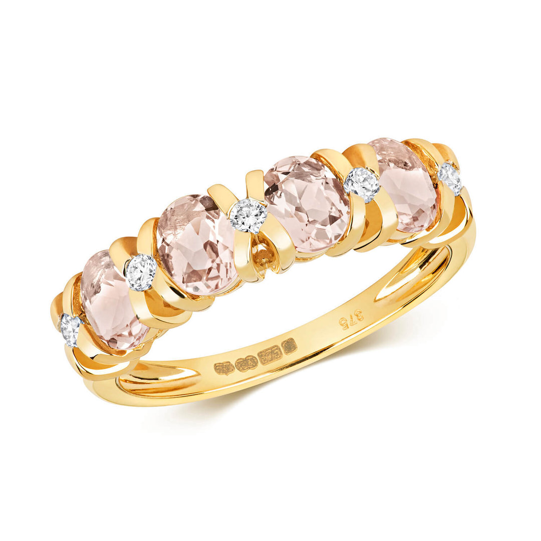 9ct Yellow Gold Morganite Diamond Eternity Ring 4560