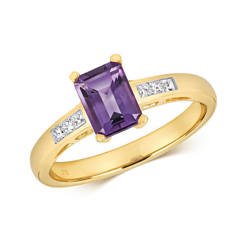 Womens 9ct yellow Gold Diamond & Amethyst Ring