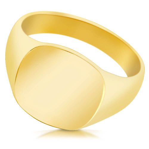 Mens 9ct yellow Gold Cushion Signet Ring for little Finger 8mm