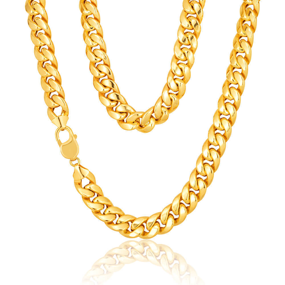 9CT YELLOW GOLD ON SILVER 20 INCH CURB CHAIN 28.8 grams MEN/'S OR LADIES