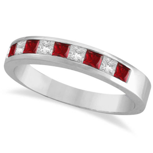 9ct white Gold Diamond & Ruby Eternity Ring