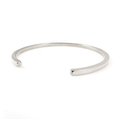 Solid 9ct white Gold 3mm square Cuff Bangle Bracelet